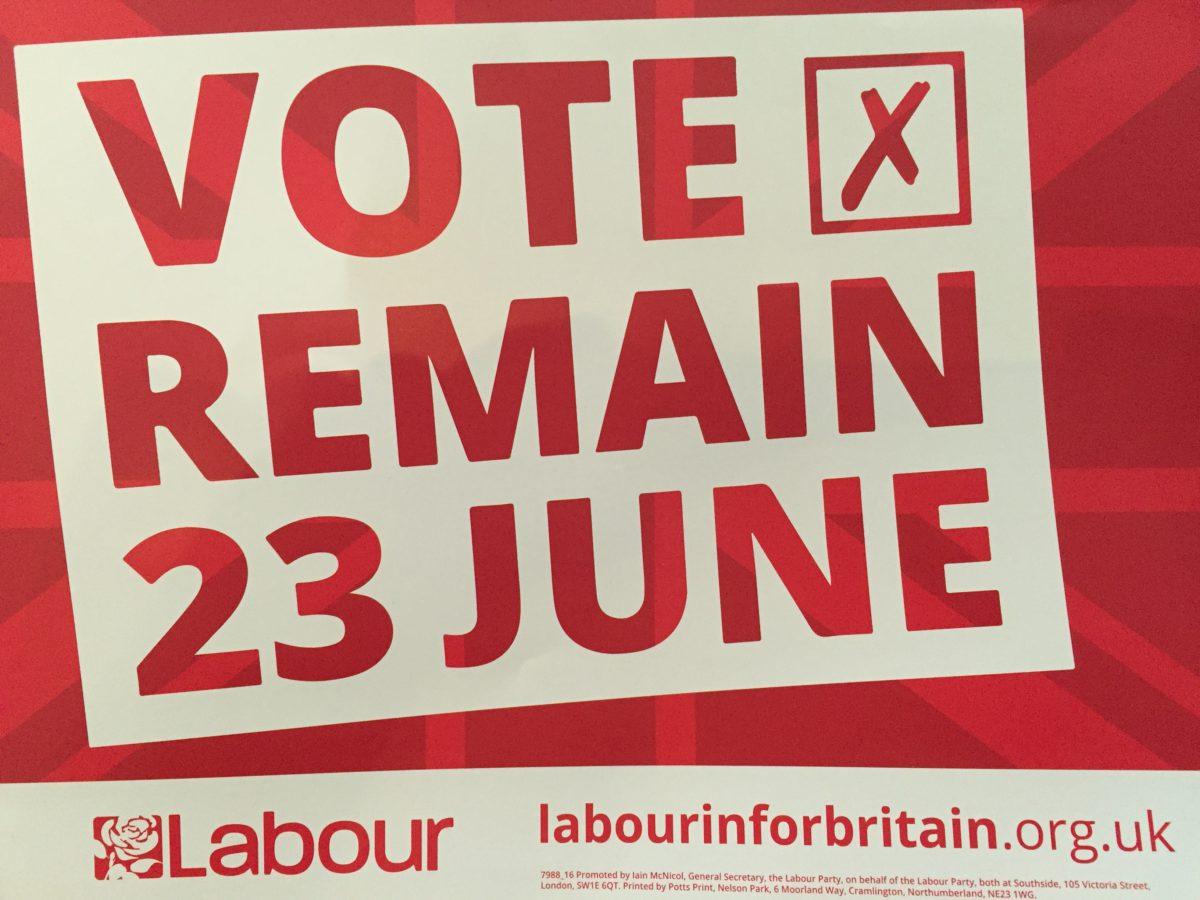 Det britiske folk fulgte ikke denne oppfordringen under folkeavstemmingen om EU i juni 2016. Foto: Frode Sandberg