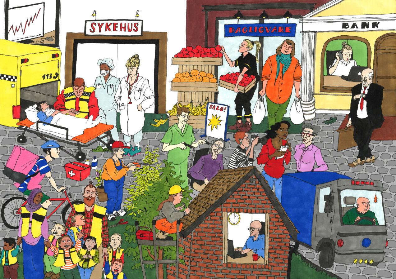 Tegning med mange farger av folk i arbeid.